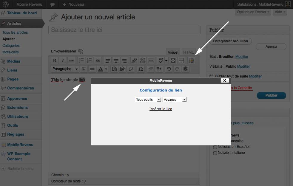MobileRevenu dans votre éditeur de post